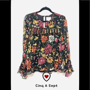 Cinq A Spet 100% Silk Ruffle floral Top Black Sz L